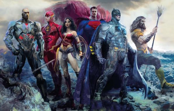 Картинка фантастика, рисунок, арт, Wonder Woman, постер, Batman, персонажи, комикс, Superman, супергерои, DC Comics, Cyborg, Aquaman, ...