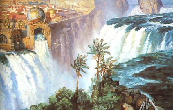 Картинка город, пальма, водопад, глобус, JAMES GURNEY