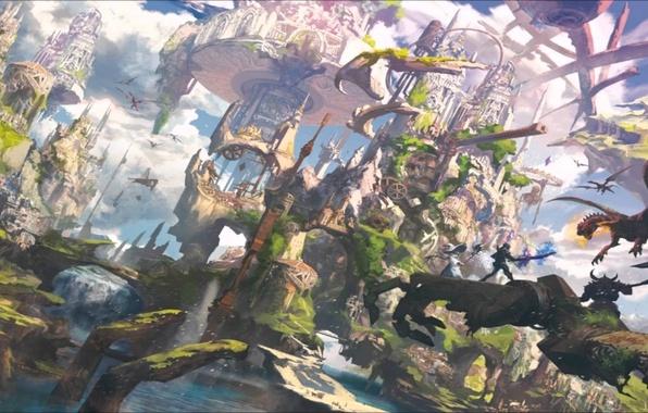 Картинка world, dark, sword, fantasy, magic, armor, sky, weapon, hat, bridge, anime, cloud, fortress, katana, rpg, …