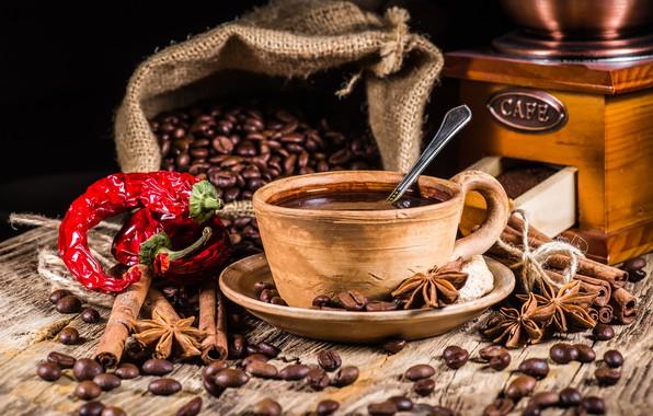 Картинка кофе, зерна, чашка, перец, hot, корица, cup, beans, coffee, специи