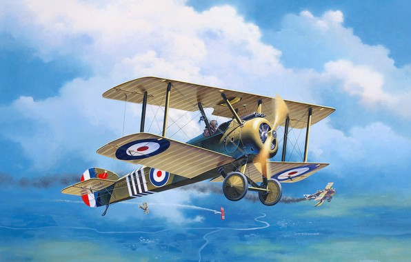 Картинка Биплан, Великобритания, art, Sopwith, Первая Мировая война, RFC, Roland C.II, F.1 Camal, Royal Flying Corps