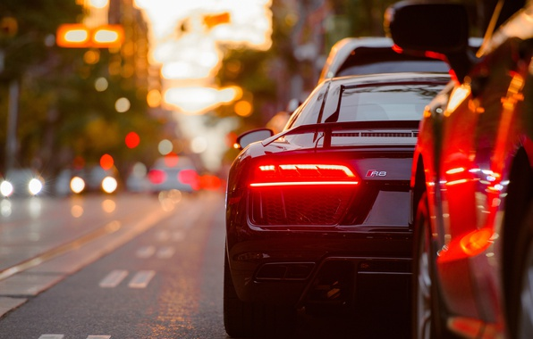 Картинка авто, город, огни, Audi, тачка, спорткар, Audi R8, боке, стопсигнал