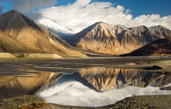 Картинка небо, облака, горы, озеро, отражение, Тибет, mountains, clouds, lake, reflection, tibet, the sky