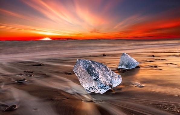 Картинка лед, берег, зарево, Исландия