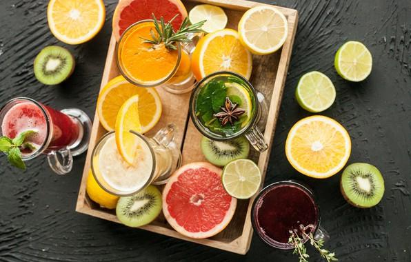 Картинка напитки, цитрусы, мята, гвоздика