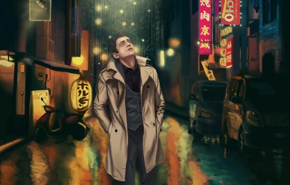 Картинка свет, ночь, city, город, lights, огни, одиночество, дождь, мужчина, чудо, токио, мегаполис, night, man, tokyo, …