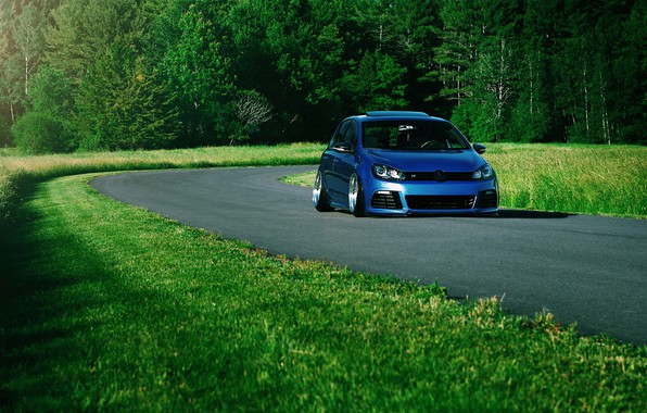 Картинка Volkswagen, Car, Grass, Green, Golf, Stance