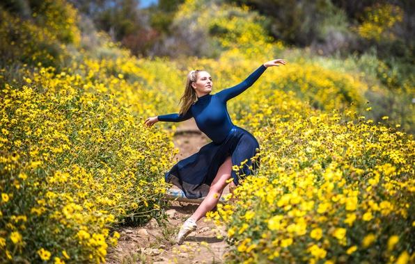 Фото обои девушка, природа, танец