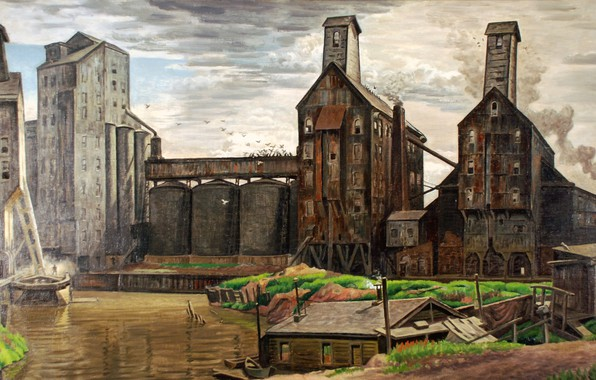 Картинка Charles Ephraim Burchfield, 1932-38, Grain Elevators