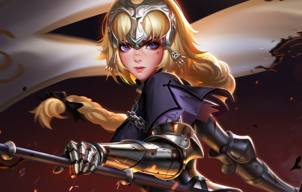Картинка girl, sword, blood, Fate/Stay Night, soldier, armor, weapon, anime, purple eyes, blonde, digital art, artwork, …