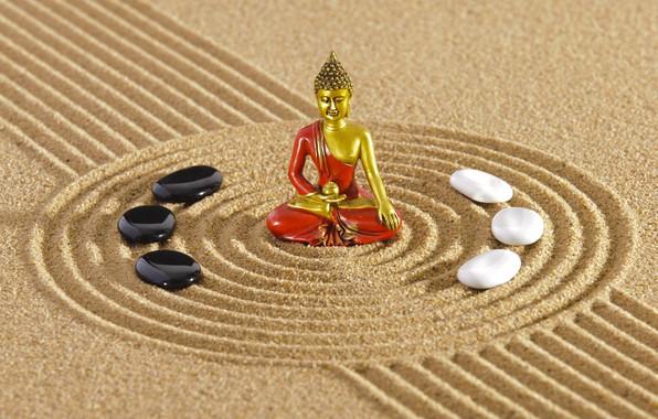 Картинка энергия, камень, Япония, сад, Japan, stone, Дзен, energy, garden, философия, Zen, песочный монах, sand monk, …