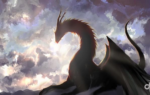 Картинка небо, облака, дракон, арт, фэнтази