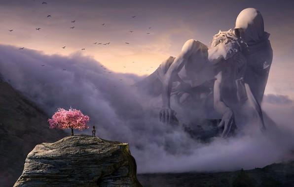 Картинка небо, облака, свет, пейзаж, горы, птицы, пространство, туман, скала, рендеринг, люди, фантастика, женщина, человек, сакура, ...