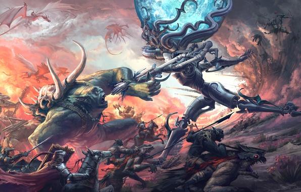 Картинка драконы, монстры, битва, рыцари, чудовища, Thomas Chamberlain - Keen