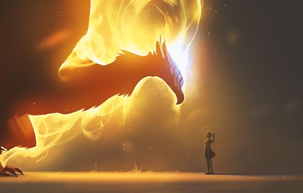 Картинка fire, girl, fantasy, Dragon, wings, artwork, fantasy art, fire dragon, flames, creature, sparks
