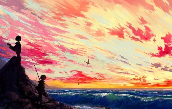 Картинка море, волны, небо, солнце, острова, облака, закат, птицы, widescreen, остров, аниме, мальчик, арт, девочка, панорама, …