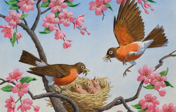 Картинка цветы, весна, арт, гнездо, птичка, фрагмент, Arthur Saron Sarnoff