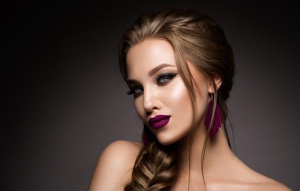 Картинка взгляд, девушка, макияж, прическа, коса