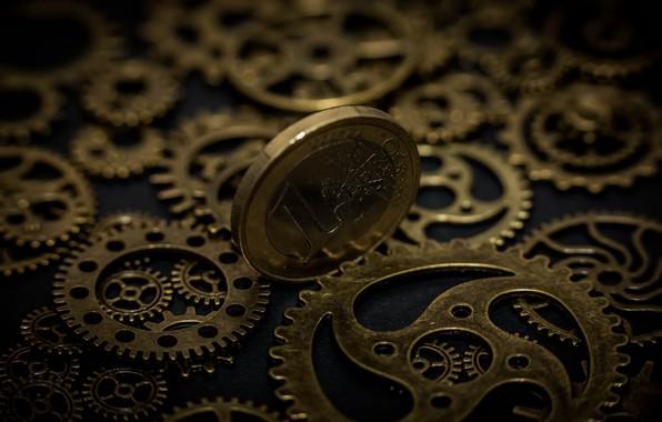 Картинка макро, время, деньги, монета, шестерёнки