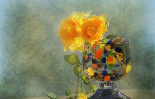 Картинка цветы, стиль, розы, текстура, ваза, жёлтые розы