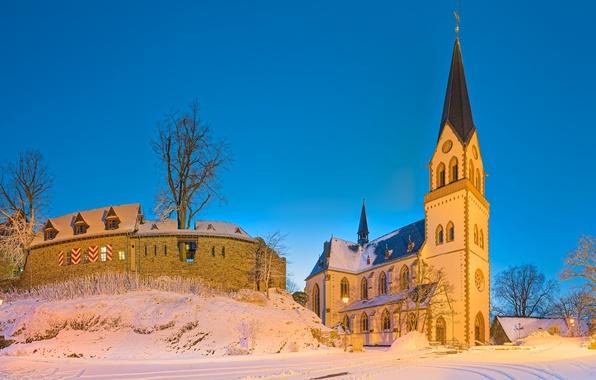 Картинка зима, замок, Германия, церковь, Kastellaun, Rhineland-Palatinate