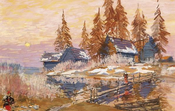 Картинка деревья, пейзаж, картина, деревня, мостик, Константин Коровин, Запоздалая Зима