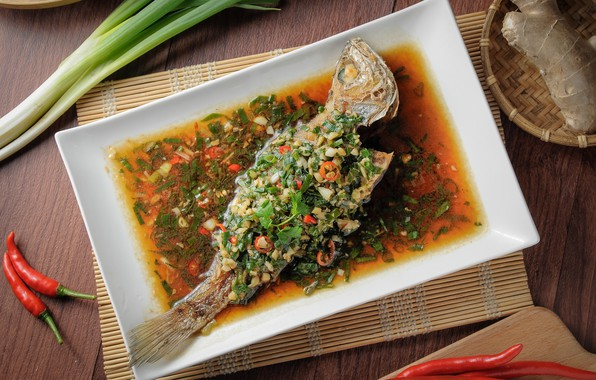 Картинка зелень, еда, рыба
