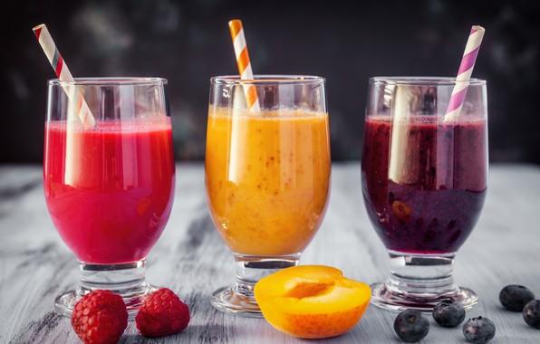 Картинка ягоды, малина, черника, сок, фрукты, абрикос, фреш