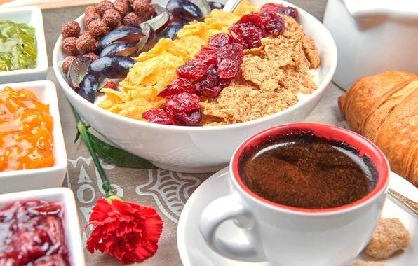 Картинка ягоды, кофе, завтрак, фрукты, breakfast, мюсли, muesli, fresh berries
