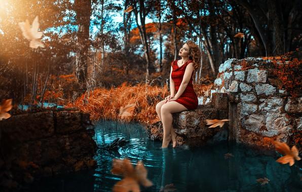 Картинка платье, ножки, в красном, у воды, Alessandro Di Cicco