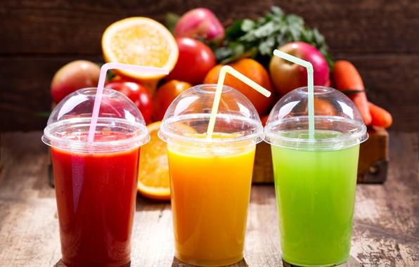 Картинка оранжевый, красный, три, зелёный, стаканы, фрукты, боке, трубочки, соки