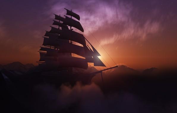 Картинка солнце, закат, горы, корабль, парусник, бриг