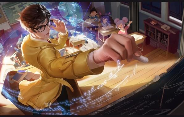 Картинка аниме, арт, школа, урок, учитель, мелок, кодомо, Teacher-Liang Zhuge, YuYu Wang