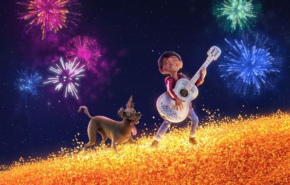 Картинка поле, небо, мультфильм, гитара, собака, звёзды, салют, мальчик, фэнтези, Disney, PIXAR, Coco, Тайна Коко, Miguel