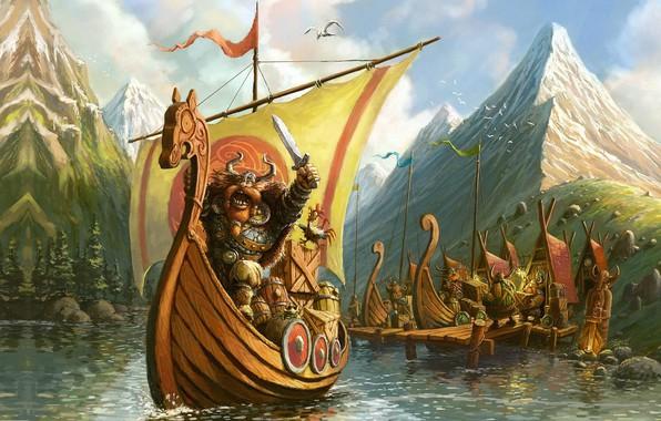 Картинка настроение, Illustrator, викинг, детская, Tomek Larek, VIKINGS on the board