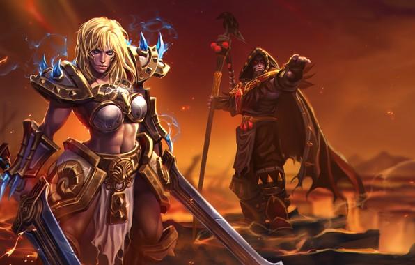Картинка girl, World of Warcraft, fantasy, game, Warcraft, Sonya, armor, blue eyes, weapons, blonde, digital art, …