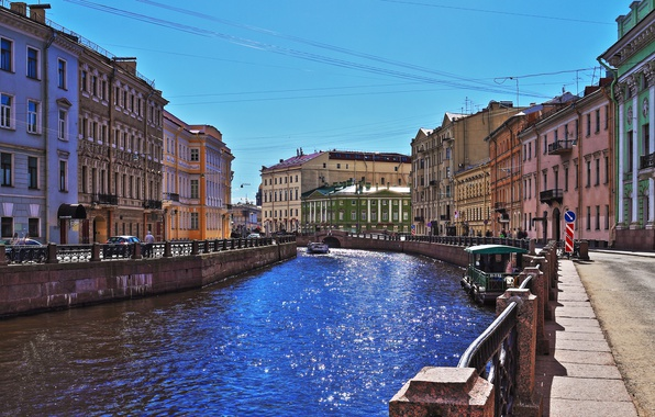 Картинка река, краски, Мойка, набережная, солнце блик, Санк-Петербург