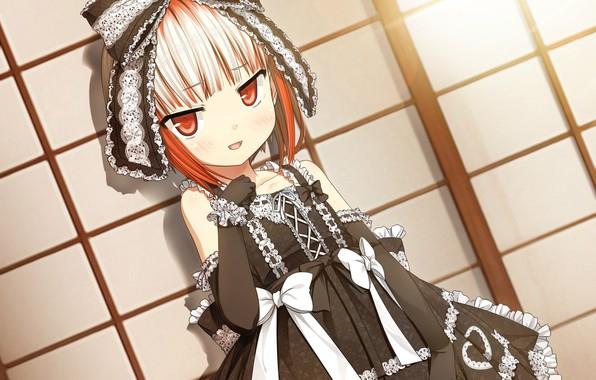 Картинка рюшки, перчатки, бантики, черное платье, бант, кружево, art, челка, visual novel, cura, monobeno, sumi, лолли