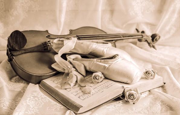 Картинка ноты, скрипка, розы, лента, натюрморт, винтаж, пуанты