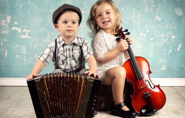 Картинка дети, музыка, скрипка, мальчик, music, виолончель, девочка, инструменты, girl, boy, гармошка, violin, cello, children, tools, …