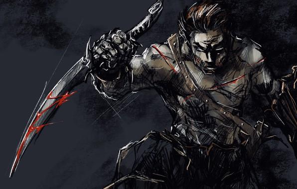 Картинка взгляд, кровь, арт, нож, порезы, парень, мрачно