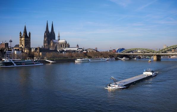 Картинка мост, река, Германия, Кёльнский собор, баржа, Кёльн, Рейн