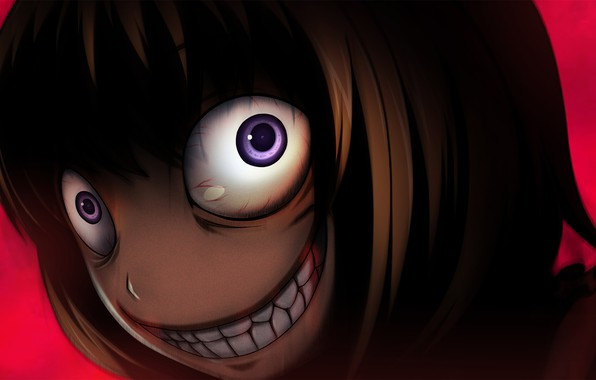 Картинка безумие, Umineko no Naku Koro ni, Когда плачут чайки, адская ухмылка, Maria Ushiromiya, физиономия, выпученные …