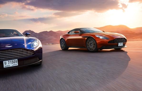Картинка Aston Martin, Orange, Blue, Speed, Supercars, DB11