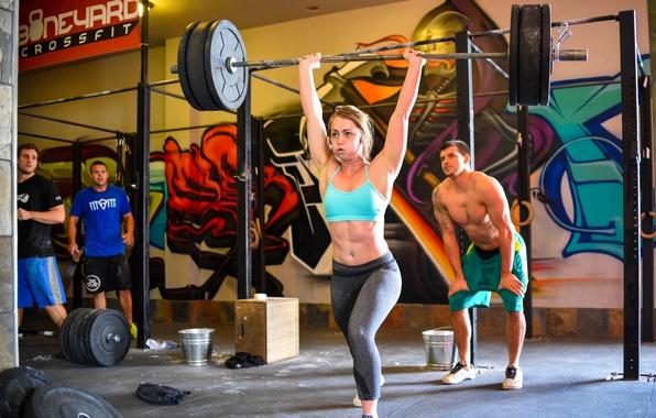Фото обои Blonde, female, crossfit, technique, weight lifting