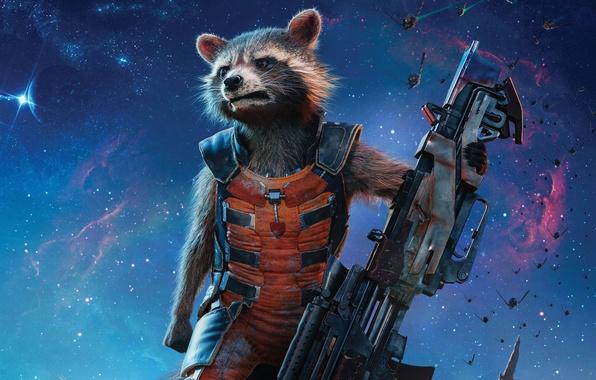 Картинка cinema, wallpaper, gun, weapon, Marvel, movie, hero, Bradley Cooper, film, rifle, suit, yuusha, Guardians of …