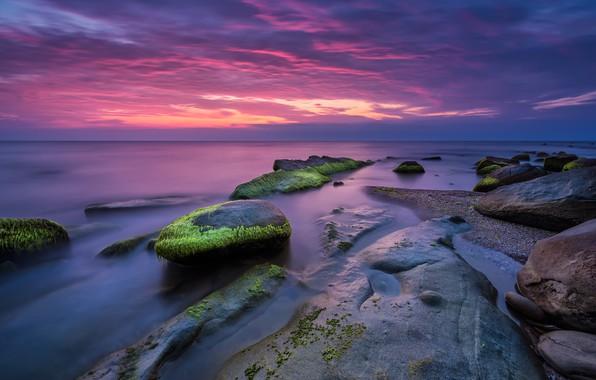 Картинка море, пляж, пейзаж, закат, природа, восход, камни, скалы, розовый, берег, nature, sunset, pink, seascape, beautiful, …