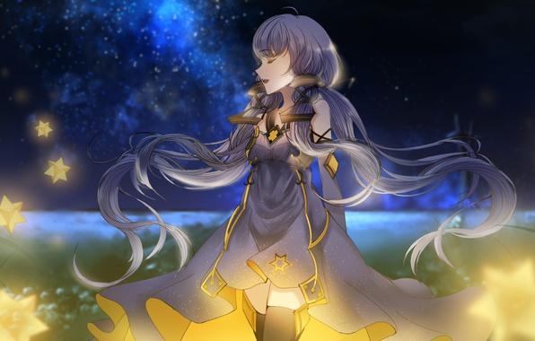 Картинка небо, девушка, звезды, ночь, аниме, арт, vocaloid china, xingchen, kleinlight