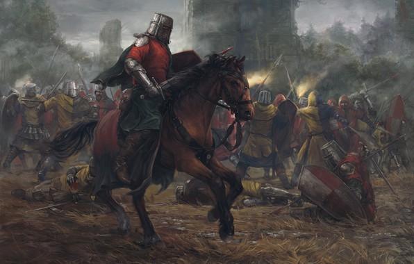 Фото обои лес, замок, лошадь, башня, бой, Битва, рыцари