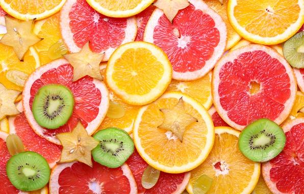 Картинка апельсин, текстура, киви, виноград, фрукты, цитрусы, дольки, fruit, orange, citrus, grapefruit, карамбола, грепфрут
